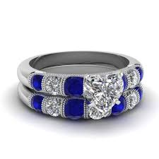 Diamond Sapphire Wedding Ring by Heart Milgrain Bar Diamond Wedding Set With Sapphire In 14k White