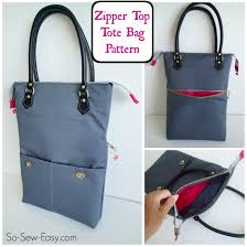 pattern for tote bag with zipper zipper top tote free bag pattern so sew easy