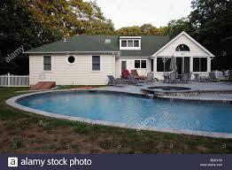 backyard pool summer house sag harbor new york stock photo
