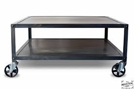 Rolling Coffee Table Industrial Steel Rolling Coffee Table Real Industrial Edge