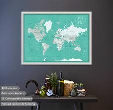 Framed World Map by World Map Push Pin Push Pin World Map Couples World Pin