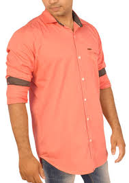 coral color men s plain shirts coral color shade at rs 335 piece men