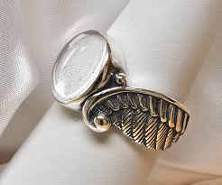 pet ashes jewelry angel wing pet cremation ring 925 sterling silver pet loss