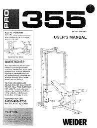 weider fitness equipment pro 355 bench webe3556 pdf user u0027s manual