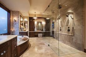 french chateau curbless double shower rustic bathroom