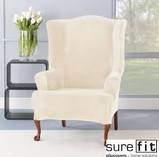 wingback chair slipcovers furniture traditional floral wingback chair slipcover with stripe