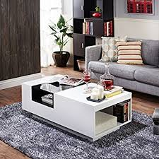 White Modern Coffee Tables by Amazon Com Ninove Contemporary Style Glossy White Finish Coffee
