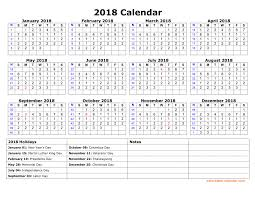 printable calendar year on one page free download printable calendar 2018 with us federal holidays one