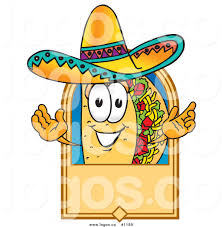 cartoon sombrero royalty free vector logo of a cartoon taco mascot on a blank tan