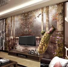 Peacock Living Room Decor 3d Wallpaper For Walls Peacock Garden Wall Mural Rococo Style