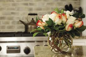 round fish bowl vase with roses kitchen interior design ideas