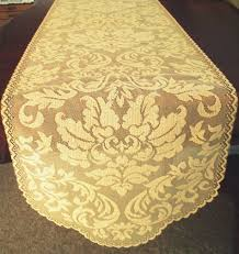 gold lace table runner table runner heritage damask 14x64 colonial gold heritage lace
