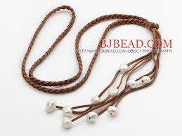 leather necklace long images Long style potato shape white pearl leather necklace with woven jpg