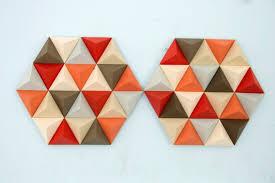 wood wall art geometric hexagon mid century wall art sale