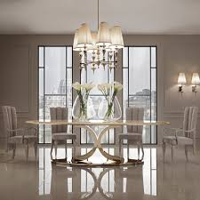 luxury gold leaf oval designer dining table juliettes interiors