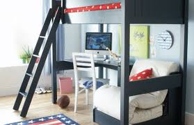 two floor bed architecture car themed shared cool cozy boys bedroom with two