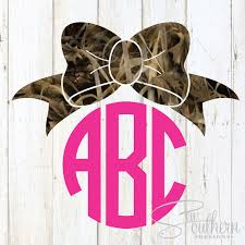 bow monogram camo bow monogram decal sew southern designs