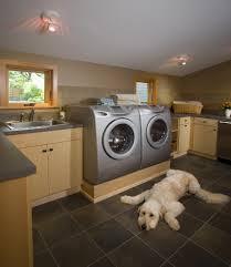 raised platform laundry room contemporary with tile backsplash