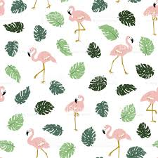 wallpaper with pink flamingos tropical seamless pattern with pink flamingos and green palm leaves