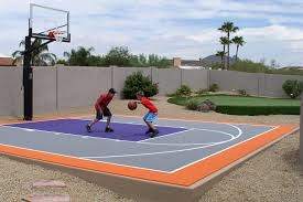 Basketball Court In The Backyard 6 Reasons To Install A Backyard Basketball Court Synlawn
