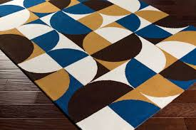 Modern Blue Rugs Rugs Curtains Stylish Geometric Blue And Gold Area Rug For
