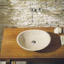 leda natural stone bathroom vessel sink in beige travertine marble