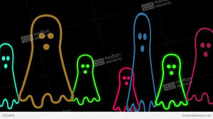 halloween animated background with cute little neon ghost stock