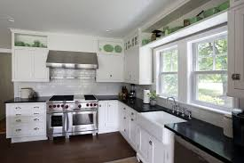Classic Kitchens Cabinets White Classic Kitchen With Black Slate Floor And White Pendants