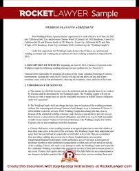 day of wedding coordinator wedding planner contract template free wedding planner agreement
