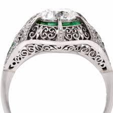 filigree engagement ring antique european emerald diamond platinum filigree engagement ring