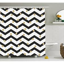 amazon com gold and white shower curtain by ambesonne horizontal