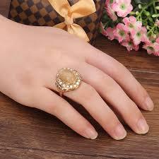 stone finger rings images Gold plated rhinestone brown gem stone finger ring women jewelry jpg