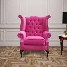 Chesterfield Wing Armchair Pink Chesterfield Queen Anne High Back Chair Designersofas4u