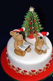 D Christmas Tree Cake - cake in white with tedding bears singing with christmas tree jpg
