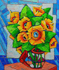 cubism flower painting cubist sunflowers original painting painting by
