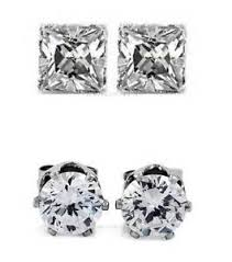 magnetic stud earrings 2 pairs cz clear square magnetic stud earrings men women ebay