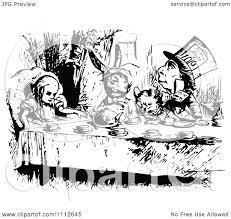 cartoon vintage black white alice wonderland