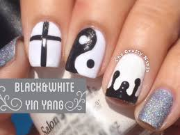 black and white yin yang cross drip nails by the crafty ninja