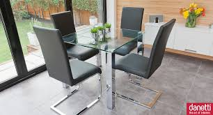 Small Glass Dining Table And 4 Chairs Modern Glass Dining Set Suitable For 2 Or 4 People Chunky Chrome