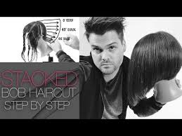 how to cut hair in a stacked bob layered stacked bob haircut how to cut a layered stacked bob
