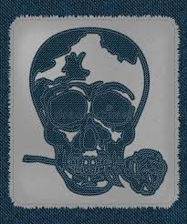 a cool skull tattoo as blue jeans element skull with rose in the
