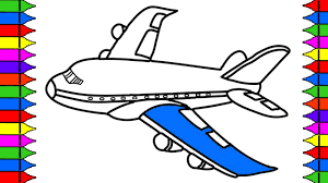 how to draw airplane coloring pages kids learn drawing art