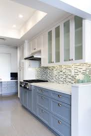 Long Gray White Wooden Cabinet With Floating Storage Having Glass