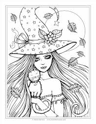 halloween and pretty witch coloring page for kids printable baby