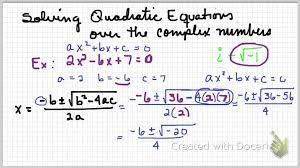 solving quadratics over complex numbers