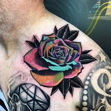 little tattoos u2014 psychedelic rose tattoo on the left collarbone