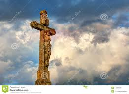 dramatic clouds and sky with jesus on the cross stock images