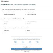 quiz u0026 worksheet two column proofs in geometry study com