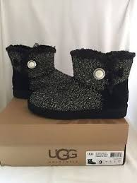 ugg womens mini bailey button sale nwt ugg mini bailey button boots fancy sparkle tweed black size 9