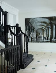 black staircase staircase picture collage hall contemporary with black and white